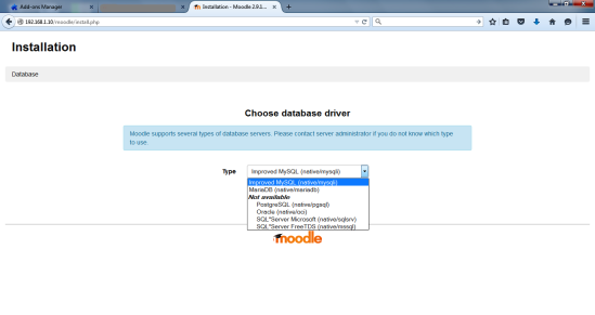 moodle db selection